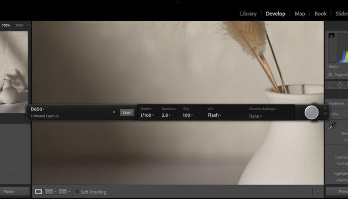 a screenshot of the Lightroom Tethering Toolbar