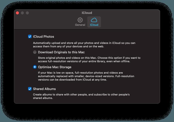 a screenshot of apple OS photos iCloud preferences