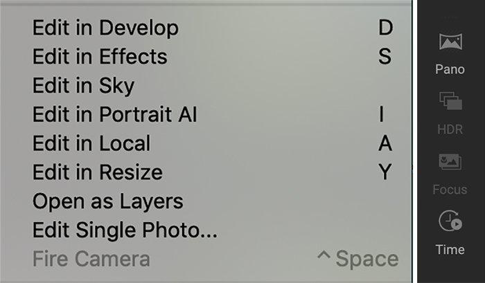 ON1 Photo Raw 2022 quick edit menu