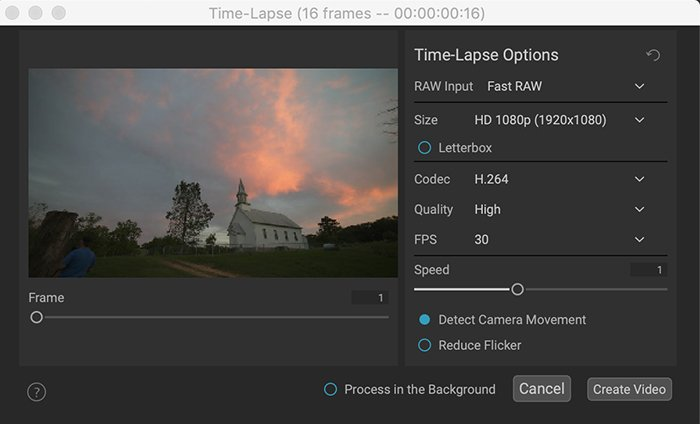 on1 photo raw 2022 time-lapse window