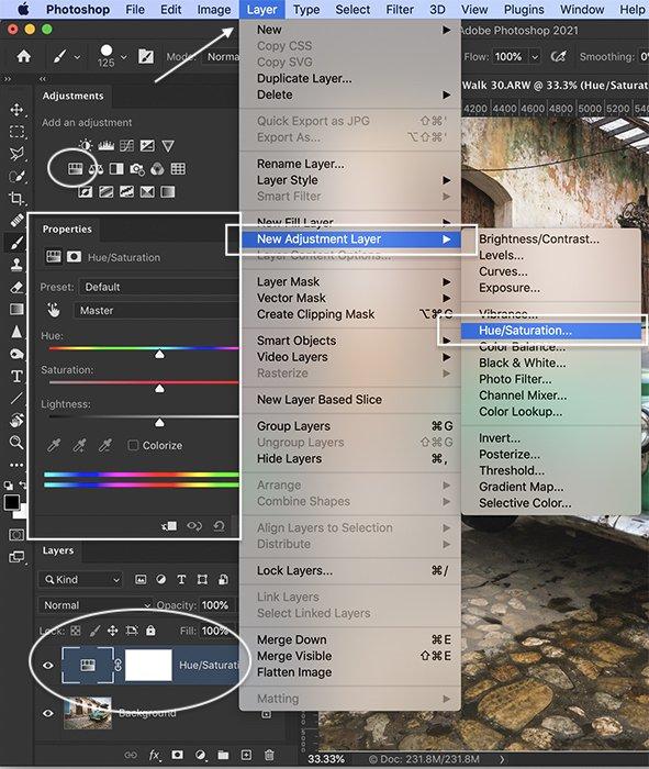 Photoshop screenshot Hue Saturation adjustment layer