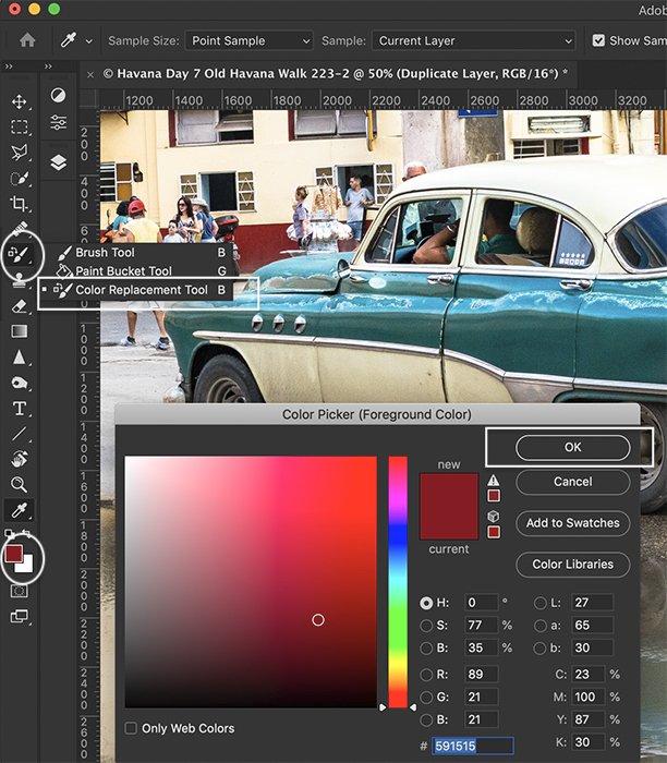 Photoshop screenshot replace color tool