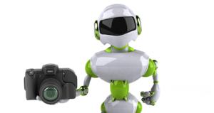 ai camera app: Robot holding a DSLR