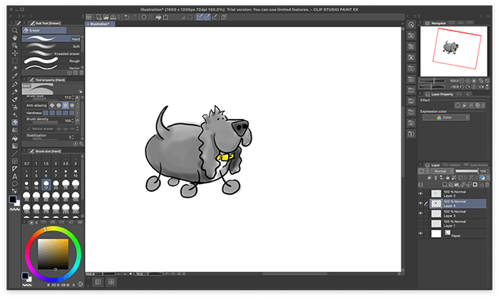 Childich Drawing of Charlie the Spaniel walking made in Clip Studio Paint