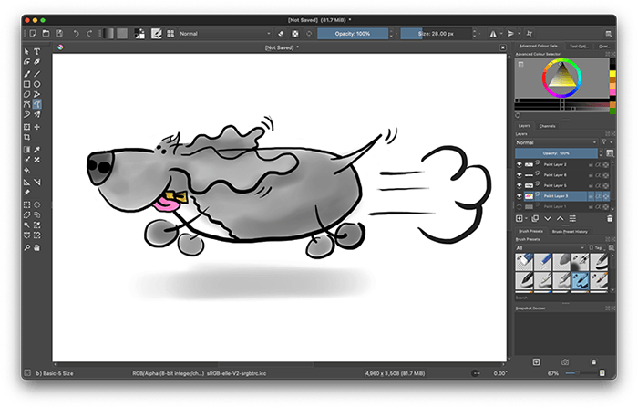 Childich Drawing of Charlie the Spaniel running made in Krita