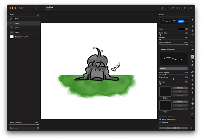 Childich Drawing of Charlie the Spaniel Sniffing made in Pixelmator Pro