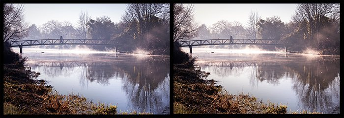 color in photography: side by side comparison of a photo of a bridge over a river