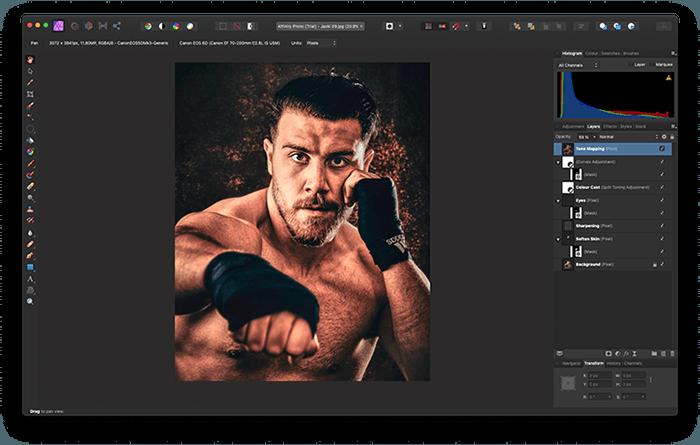 Portrait of Boxer Jack Shepherd Edited in Affinity Photo, a great Photoshop alternative