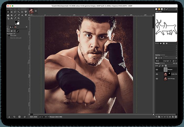 Portrait of Boxer Jack Shepherd Edited in GIMP