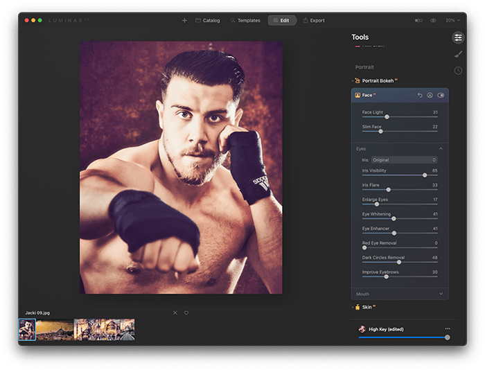 Portrait of Boxer Jack Shepherd Edited in LuminarAI