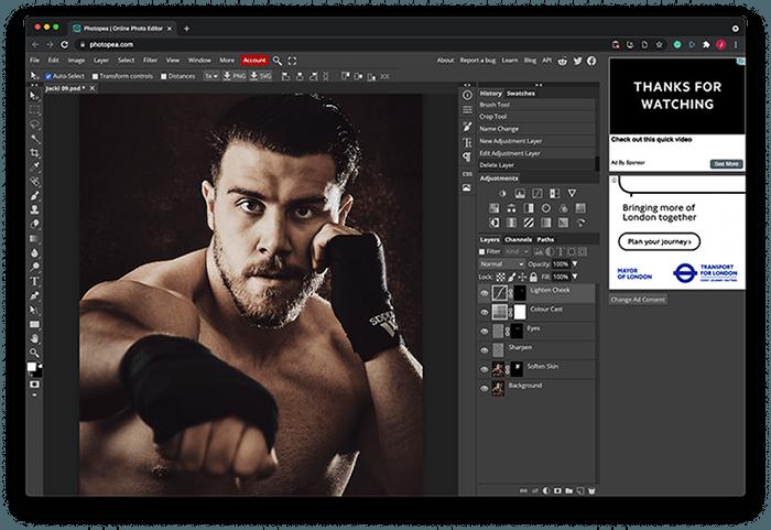 Portrait of Boxer Jack Shepherd Edited in Photopea Photoshop alternative