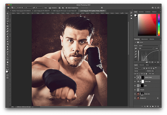 Portrait of Boxer Jack Shepherd edited in Photoshop