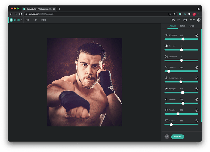 Portrait of Boxer Jack Shepherd Edited in Sumo Photo (free Photoshop alternative)