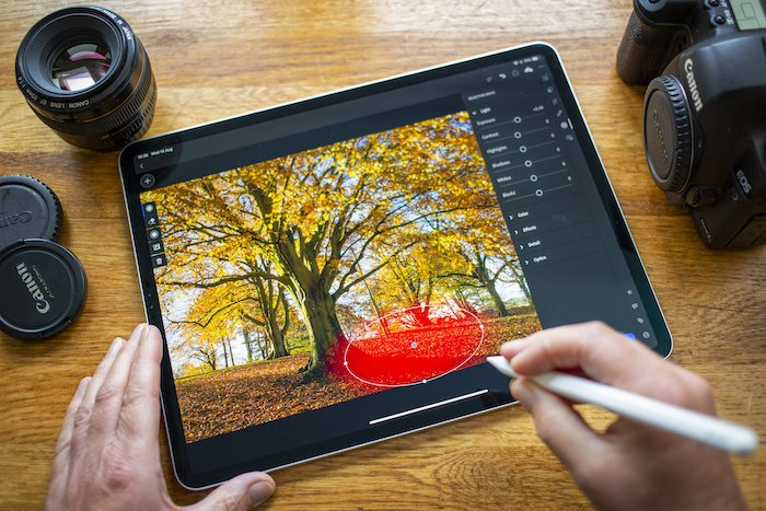 editing a photo in Lightroom on a tablet