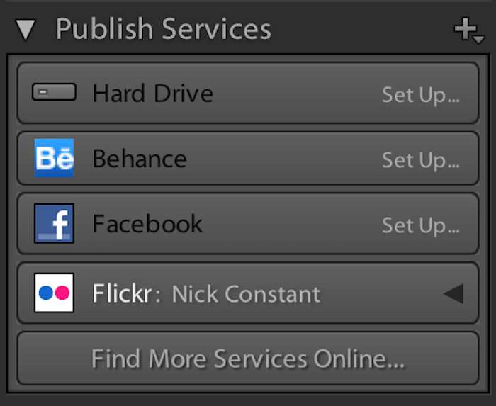 publish services allows you to export images to social media platforms in Lightroom