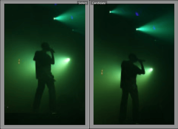 comparison view in Lightroom helps you choose between similar images