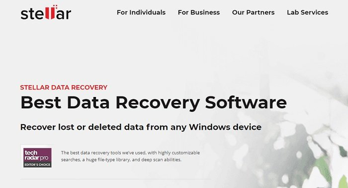 Stellar data recovery software website homepage